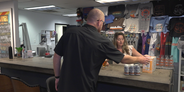 Jeff and Leah Huss are feeling the effects of the tariffs. Their company, Huss Brewing, is the third largest craft brewery in Arizona, and they also rely on steel and aluminum for their business in Tempe, where they can 50 percent of their beer.