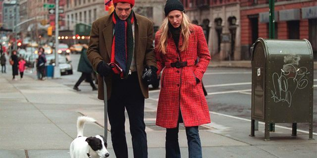 John F. Kennedy Jr. and his wife Carolyn walk with their dog January 1, 1997 in New York City. July 16, 2000 marks the one-year anniversary of the plane crash off the coast of Martha's Vineyard in Massachusetts that killed John F. Kennedy Jr., 38, his wife Carolyn Bessette Kennedy, 33, and her sister Lauren Bessette, 34. (Photo by Evan Agostini/Liaison)