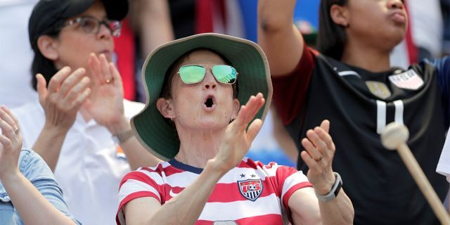 A spectator reacting during the send-off celebration for the United States. (AP Photo/Julio Cortez)