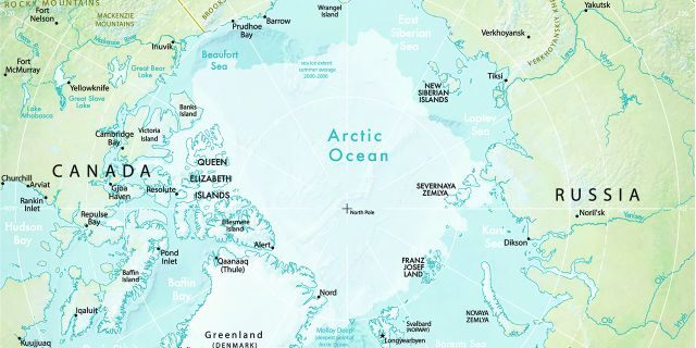 Vector illustration of the physical map of the Arctic region. (istock)