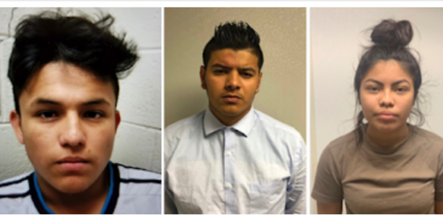 From left to right, Josue Fuentes-Ponce, Joel Escobar and Cynthia Hernandez-Nucamendi are charged with first-degree murder (George
