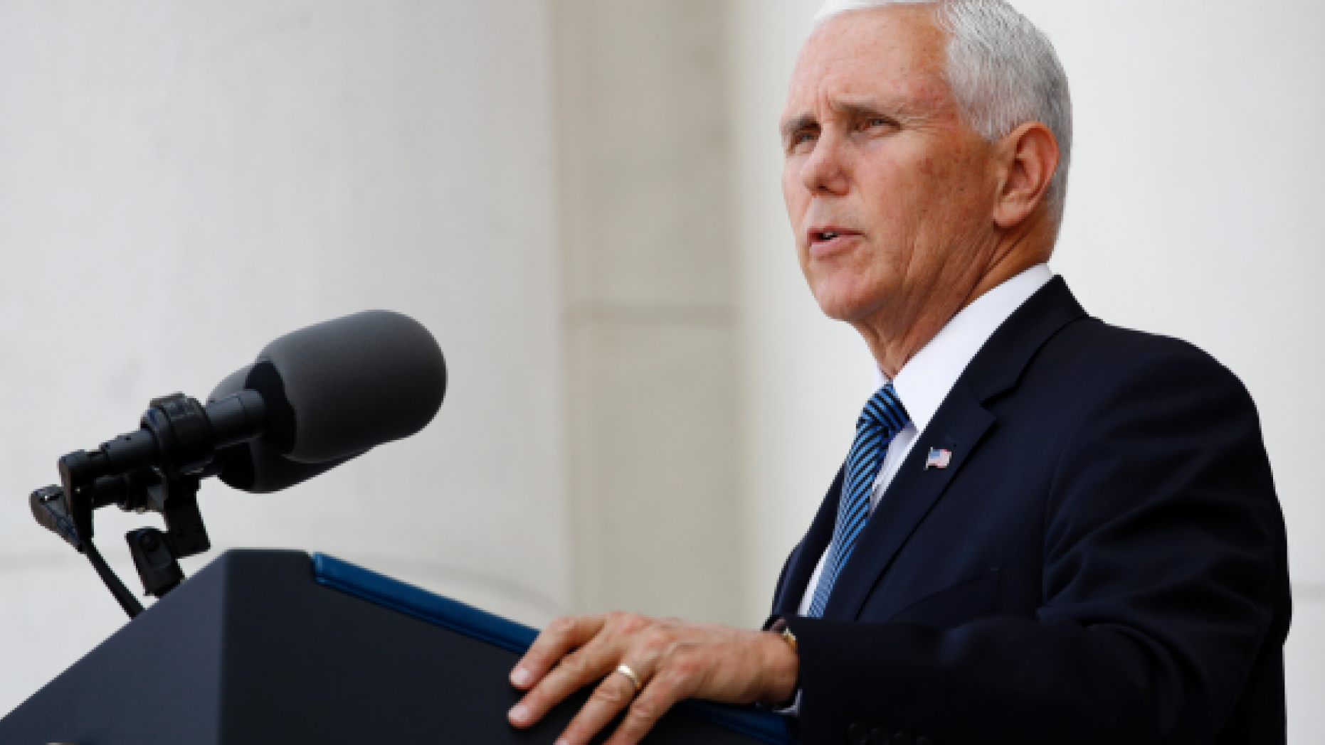 Vice President Mike Pence speaks at a Memorial Day ceremony after placing a wreath in front of the Tomb of the Unknown Soldier, Monday, May 27, 2019, at Arlington National Cemetery in Arlington, Va. (AP Photo/Patrick Semansky)