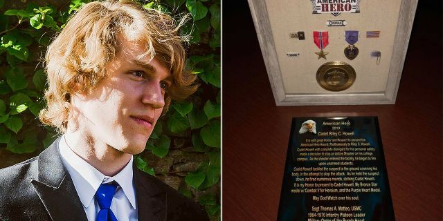 Riley Howell, 21, was posthumously awarded a Purple Heart and a Bronze Star after he tackled a gunman at the University of North Carolina at Charlotte in April.