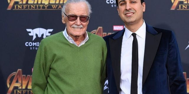 """In this April 23, 2018, file photo, Stan Lee, left, and Keya Morgan arrive at the world premiere of """"Avengers: Infinity War"""" in Los Angeles. Morgan, the former business manager of Lee has been arrested on elder abuse charges involving the late comic book icon. (Photo by Jordan Strauss/Invision/AP, File)"""