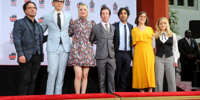 """Johnny Galecki, from left, Jim Parsons, Kaley Cuoco, Simon Helberg, Kunal Nayyar, Mayim Bialik and Melissa Rauch, cast members of the TV series """"The Big Bang Theory,"""" pose at a hand and footprint ceremony at the TCL Chinese Theatre on Wednesday, May 1, 2019 at in Los Angeles."""