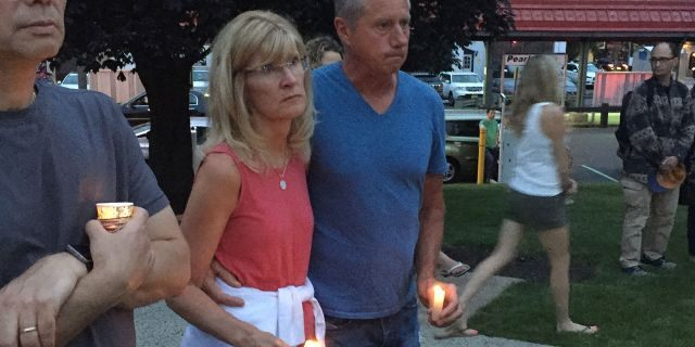 Pearl River, N.Y., residents gathered Saturday to protest plans to release one of two men convicted in the 1980 sexual assault and murder of 16-year-old Paula Bohovesky. (Cristina Corbin, FOX News)