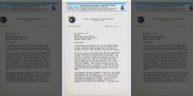 The internal NASA memo discussing Neil Armstrong's historic first words on the Moon. (Heritage Auctions)