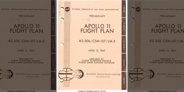 The Apollo 11 preliminary flight plan that is up for auction.