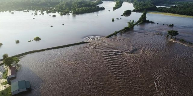In this aerial image provided by Yell County Sheriff