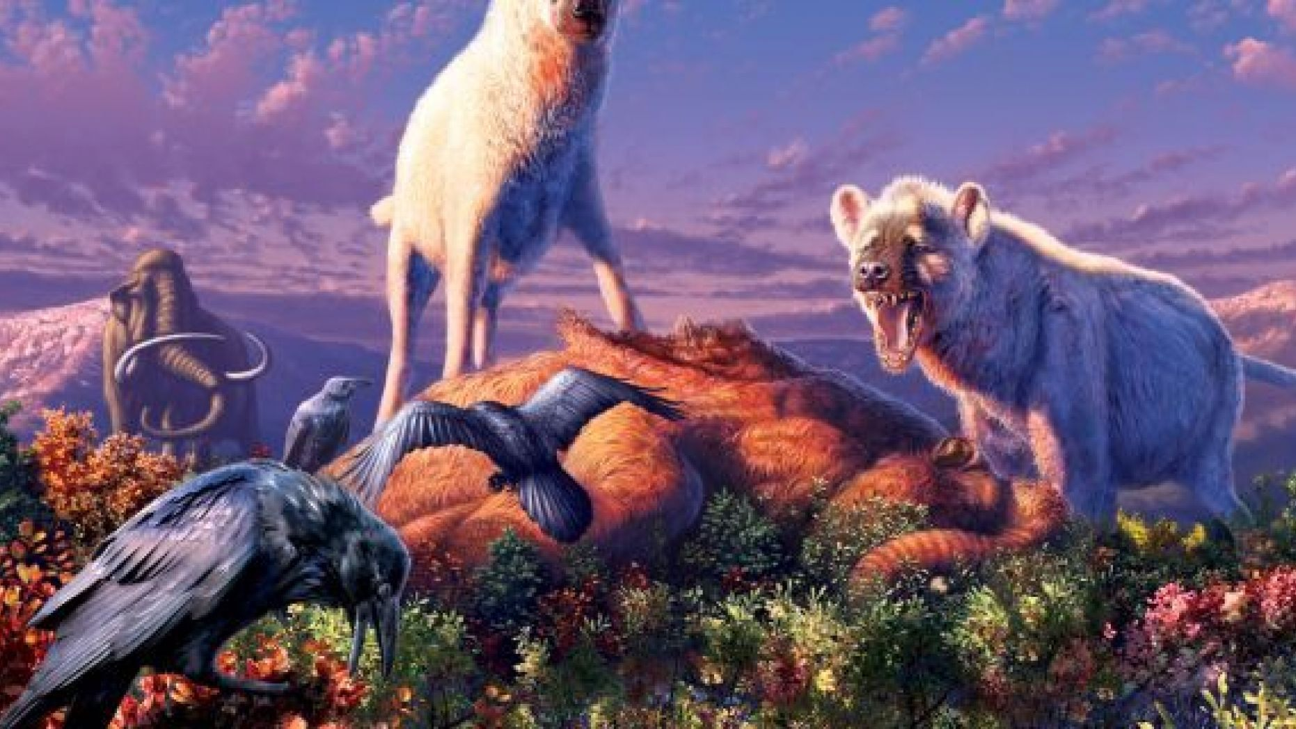 An illustration of two triumphant ancient hyenas (<i>Chasmaporthetes</i>) standing over their next meal in what is now the Yukon Territory of Canada.