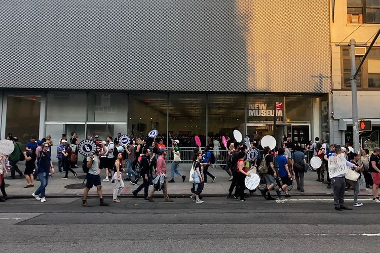 Rally at New Museum reception brings attention to union negotiations
