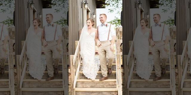 Jennifer Geary and groom Jake Smith had no idea that the youngsters would be making an appearance at their June 22 nuptials in Sparta.