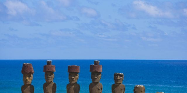 Statues at Anakena Beach, Easter Island, Chile.(Photo by Eric LAFFORGUE/Gamma-Rapho via Getty Images)