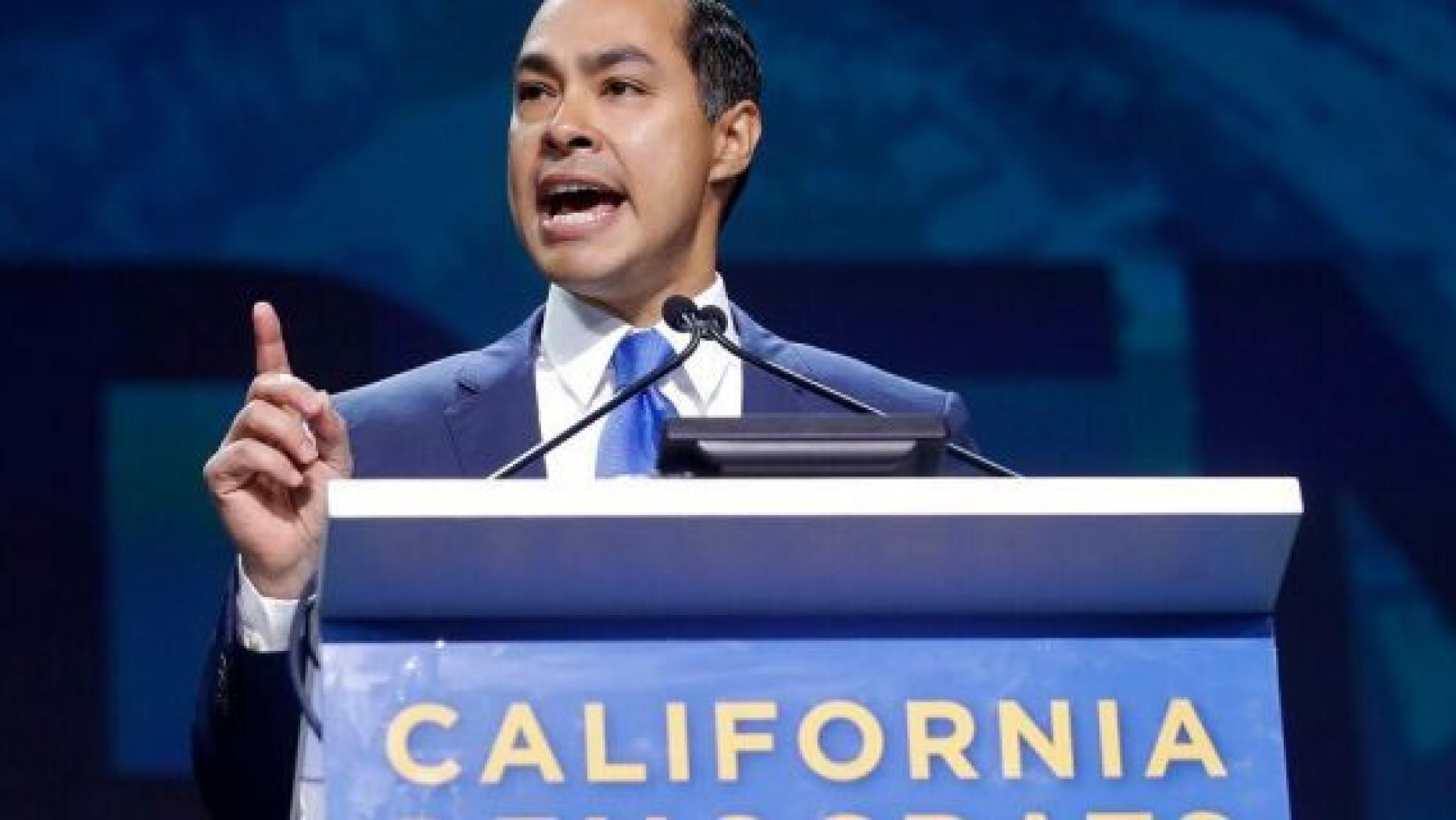 Democratic presidential candidate Julian Castro speaks during the 2019 California Democratic Party State Organizing Convention in San Francisco, Sunday, June 2, 2019. (AP Photo/Jeff Chiu)