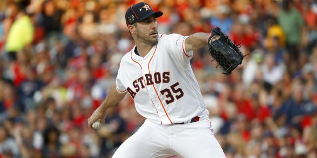 American League starting pitcher Justin Verlander, of the Houston Astros, throws during the first inning of the MLB baseball All-Star Game against the National League.