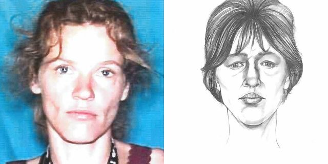 The photo right was an FBI sketch based on the body found in a field in Indiana field in 1999. The photo, right is that of Tina Cabanaw