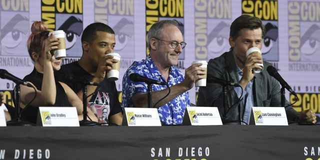 "Maisie Williams, from left, Jacob Anderson, Liam Cunningham and Nikolaj Coster-Waldau appear at the ""Game of Thrones"" panel on day two of Comic-Con"