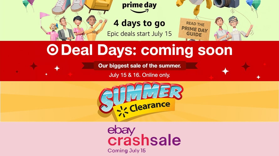 Summer sale promotion from top to bottom; Amazon, Target, Walmart, Ebay