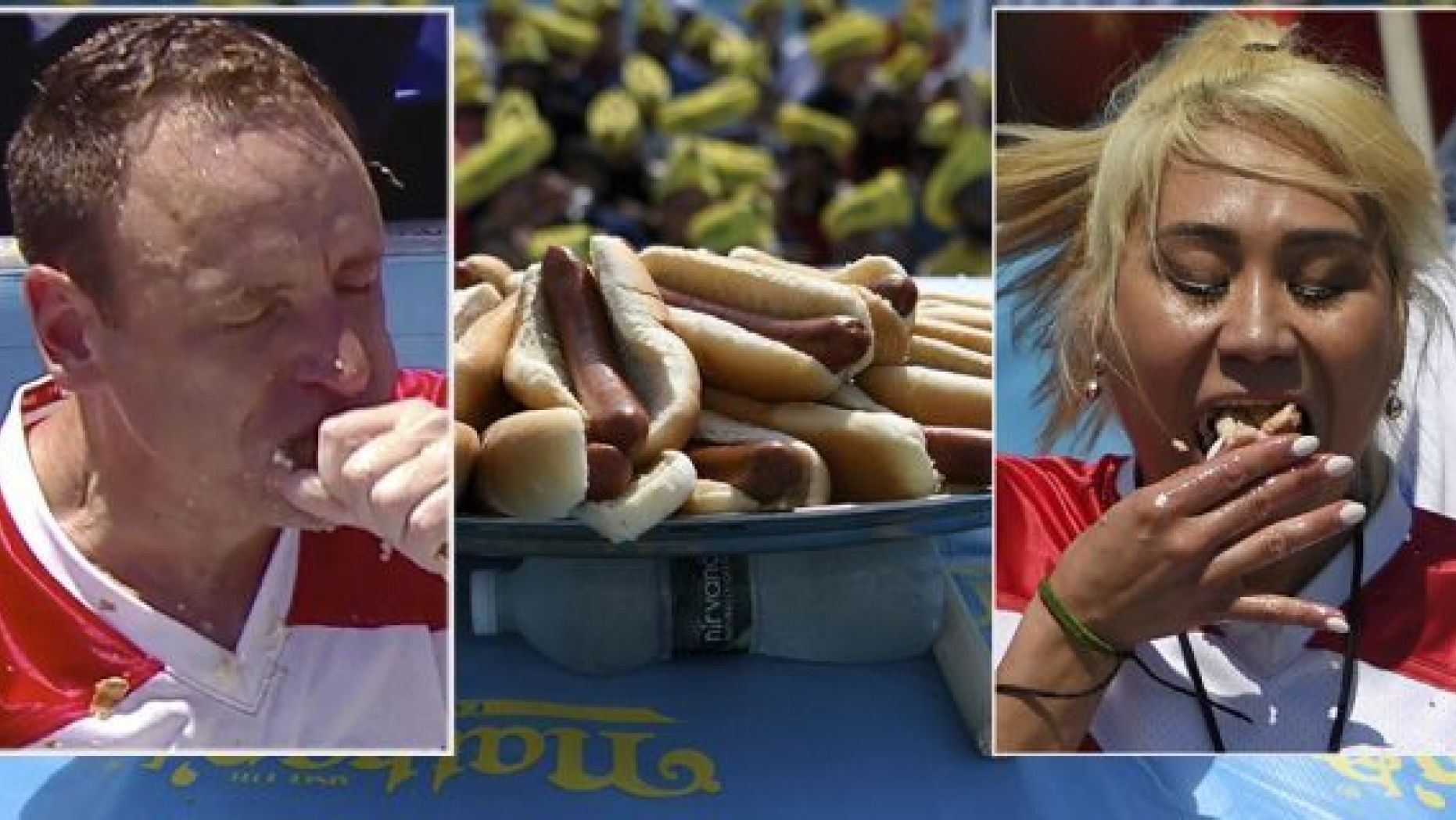 Hot dogs are displayed before the annual Nathan