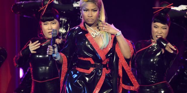 FILE - This June 24, 2018 file photo shows Nicki Minaj performing at the BET Awards in Los Angeles. Minaj is pulling out a concert in Saudi Arabia because she says she wants to show support for women's rights, gay rights and freedom of expression. She was originally scheduled to headline the concert on July 18, 2019. The Human Rights Foundation issued a statement last week, calling for Minaj and other performers to pull out of the show.