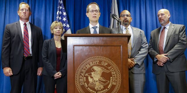 Benjamin Glassman, United States Attorney of the Southern District of Ohio, speaks during a news conference, Thursday. Federal authorities say Miami-Luken, an Ohio-based wholesale drug distributor that