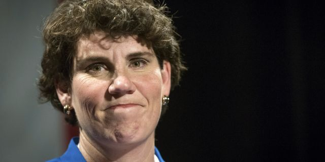 Amy McGrath was narrowly defeated in her bid for a House seat last year. (AP Photo/Bryan Woolston, File)