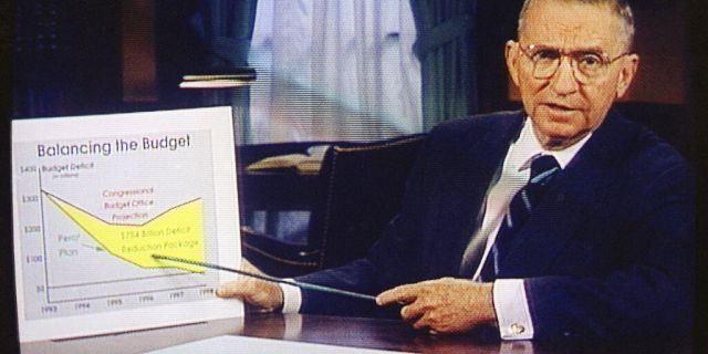 FILE: Ross Perot is shown on a screen in a paid 30-minute television commercial, during a media preview in Dallas.