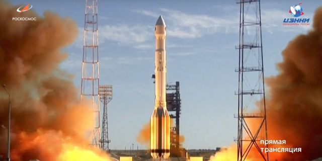 A Russian Proton-M rocket takes off from the launch pad at Russia