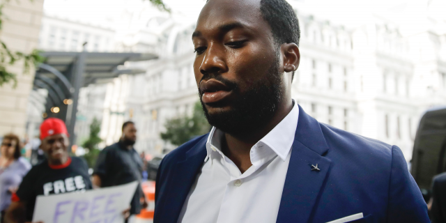Rapper Meek Mill arrives at the criminal justice center in Philadelphia for a status hearing, Tuesday, Aug. 6, 2019.