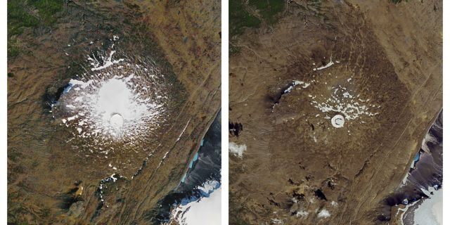 The Okjokull glacier on Sept. 14, 1986, left, and what remained on Aug. 1, 2019. (NASA via AP)