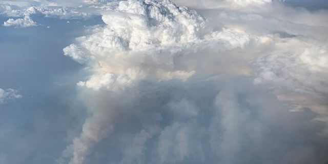 Atmospheric scientists aboard a modified Douglas DC-8 jetliner observed the fire cloud.
