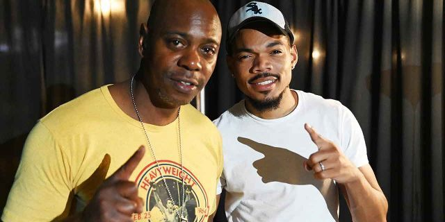 Dave Chappelle and Chance The Rapper pose backstage during Dave Chappelle's Block Party on Aug. 25, 2019 in Dayton, Ohio. The concert was organized to benefit the city following a mass shooting.