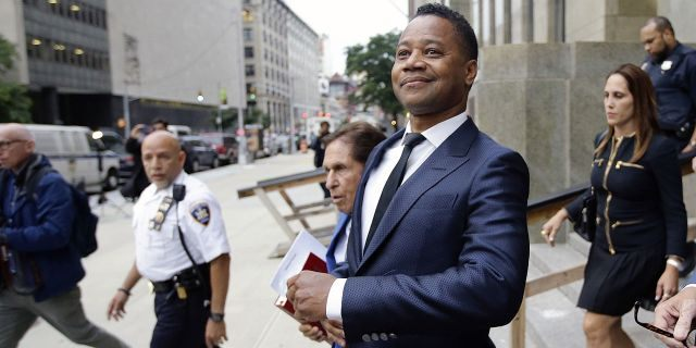 FILE - In this June 13, 2019 file photo, Cuba Gooding Jr. leaves criminal court in New York. A New York City judge has rejected actor Cuba Gooding Jr.