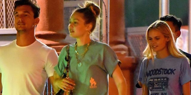 Tyler Cameron (L) and Gigi Hadid (second from L) out in New York City.