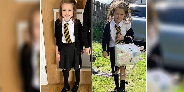 One adorably frazzled picture taken after a five-year-old girl's first day back at school has gone massively viral on Facebook, though her mother is still mystified as to how the youngster got so messy in the first place.