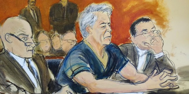 In this courtroom artist's sketch, defendant Jeffrey Epstein, center, sits with attorneys Martin Weinberg, left, and Marc Fernich last month.