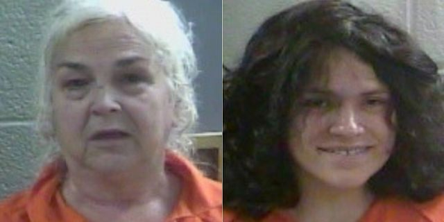 Mugshots for69-year-old Charlotte Simpson, and her daughter, 32-year-old Rebecca Fultz, the mother of the newborn found by deputies covered in ants.
