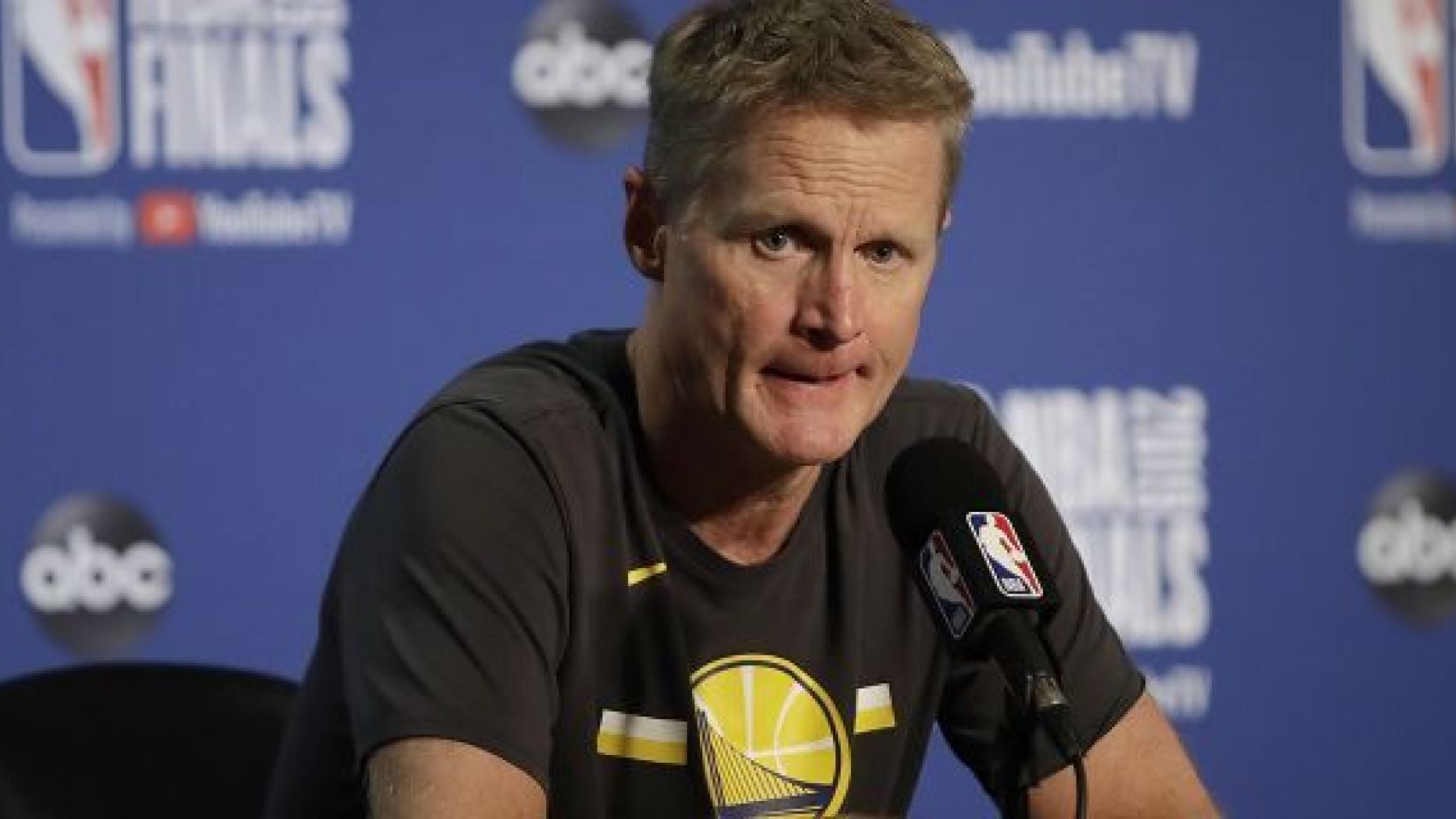 FILE - In this June 5, 2019, file photo, Golden State Warriors head coach Steve Kerr speaks at a news conference after Game 3 of basketball