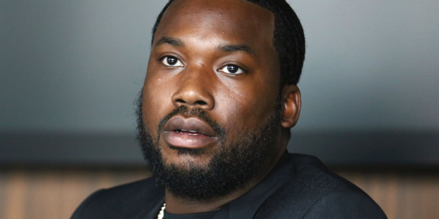 In this Tuesday, July 23, 2019 photo, Meek Mill makes an announcement of the launch of Dream Chasers record label in joint venture with Roc Nation, at the Roc Nation headquarters in New York. A Pennsylvania appeals court has thrown out rapper Meek Mill