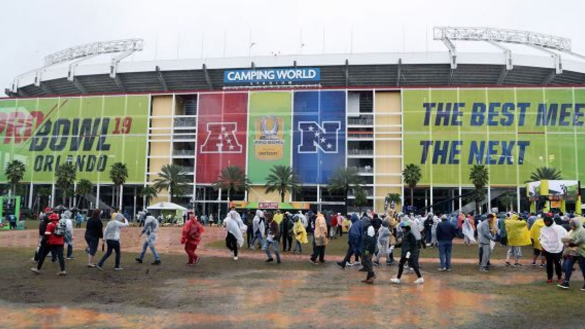 FILE - This Jan. 27, 2019, file photo shows a general view exterior of Camping World Stadium before the NFL Pro Bowl football game in Orlando, Fla. The Pro Bowl will return to Orlando for the fourth straight year and be held one week before the Super Bowl. The NFL