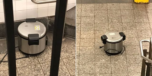 This photo provided by NYPD shows a suspicious object which looks like a pressure cooker or electric crockpot on the floor of the New York City Subway platform on Friday, Aug. 16, 2019 in New York.