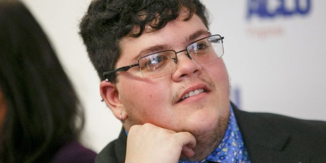 In this July photo, Gavin Grimm, who has become a national face for transgender students, speaks during a news conference held by the ACLU and the ACLU of Virginia at Slover Library in Norfolk, Va.  (Kristen Zeis/The Daily Press via AP, File)