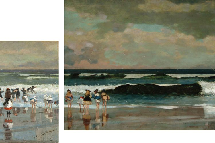 Winslow Homer beach paintings—cut in half after a bad review—reunited for Cape Ann Museum show