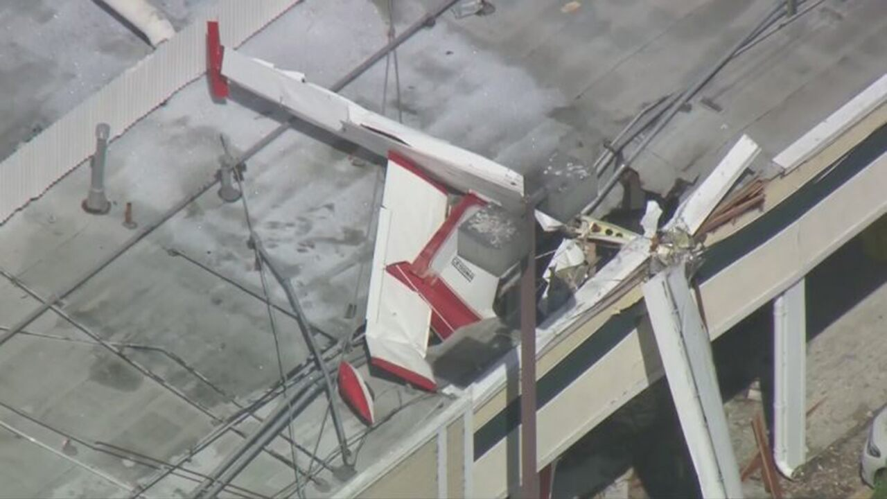 1 dead, 1 critically injured after small plane crashes into a roof in California