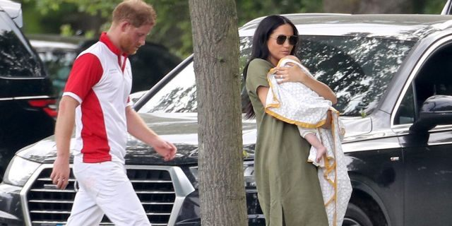 Prince Harry, Duke of Sussex, Meghan, Duchess of Sussex and son Archie Harrison Mountbatten-Windsor attend The King Power Royal Charity Polo Day at Billingbear Polo Club on July 10, 2019 in Wokingham, England.