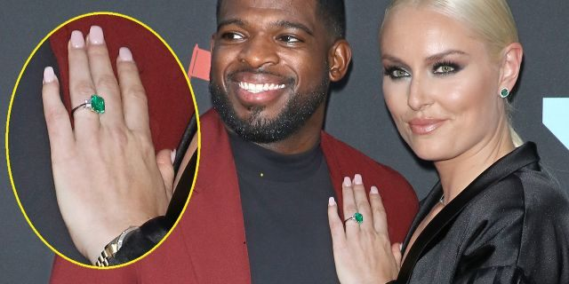 Subban and Vonn attend the 2019 MTV Video Music Awards at Prudential Center on August 26, 2019 in Newark, New Jersey. The newly engaged athlete showed off her emerald engagement ring.