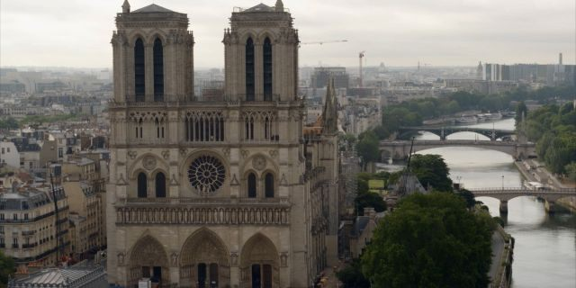An aerial view of Notre Dame (Science Channel)
