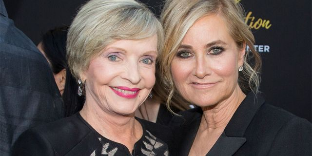 Florence Henderson (L) and Maureen McCormick arrive at the Television Academy's 70th Anniversary Gala on June 2, 2016, in Los Angeles, California. (Photo by Gabriel Olsen/FilmMagic)