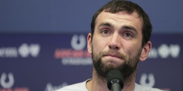 Indianapolis Colts quarterback Andrew Luck speaks during a news conference following the team