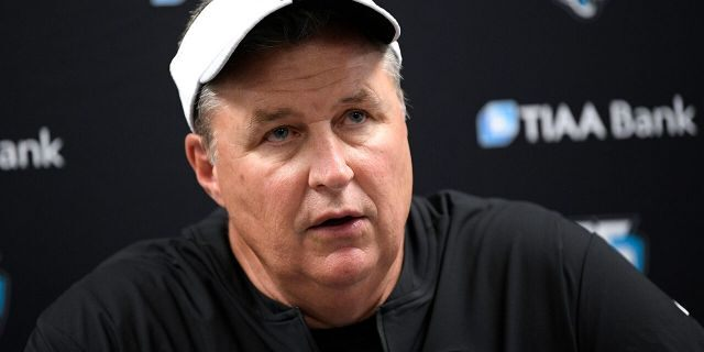 In this Aug. 8, 2019, file photo, Jacksonville Jaguars head coach Doug Marrone talks to reporters after an NFL football preseason game against the Baltimore Ravens in Baltimore. (AP Photo/Nick Wass, File)